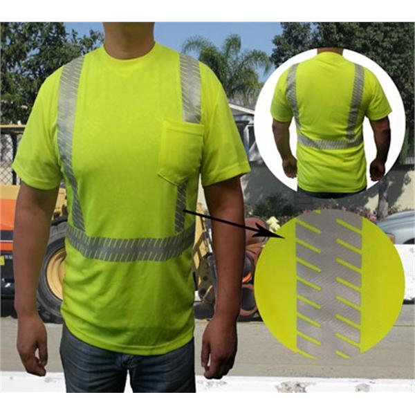 ANSI Class 2 Jersey Mesh Safety T w/ Pocket & Segmented Tape