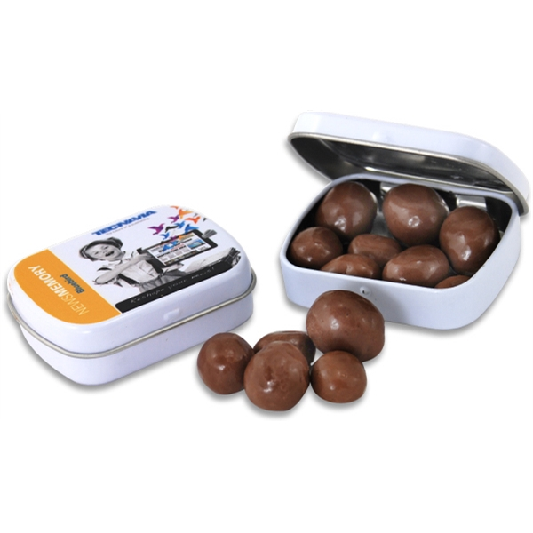 Pocket Hinged Tin with Candy Chocolate Covered Peanuts - Pocket Hinged Tin with Candy Chocolate Covered Peanuts