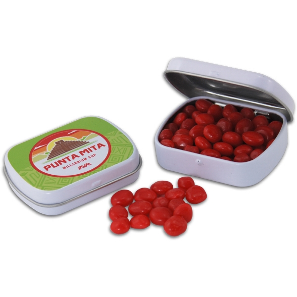 Pocket Hinged Tin with Candy Red Hots - Pocket Hinged Tin with Candy Red Hots