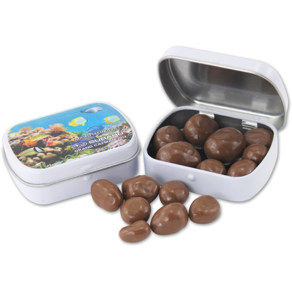 Pocket Hinged Tin with Candy Chocolate Covered Almonds - Pocket Hinged Tin with Candy Chocolate Covered Almonds