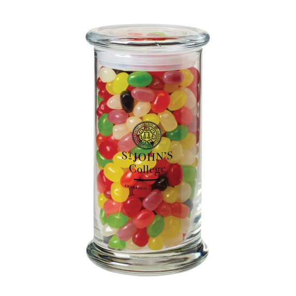 1 lb 2.8 oz. Jelly Beans in Glass Status Jar