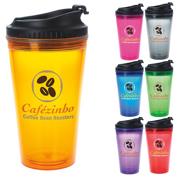 Colored Tumbler with Black Lid - 18 oz