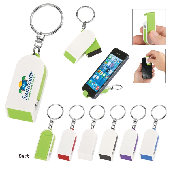 "Phone Stand And Screen Cleaner Combo Keychain - Phone stand and screen cleaner combo keychain; 2"" W x 3/4"" H."