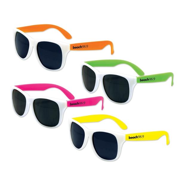 White Frame Classic Neon Sunglasses