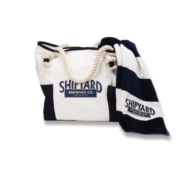 Portland Bag (TM) & Towel - Combination set with tote and horizontal stripe beach towel.
