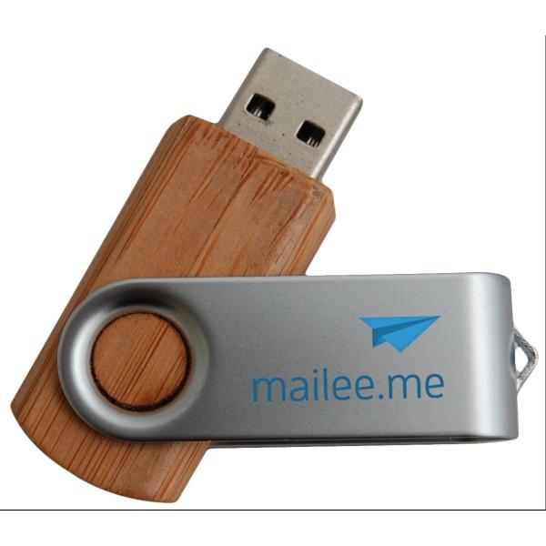 Tech Bamboo Swivel USB Drive