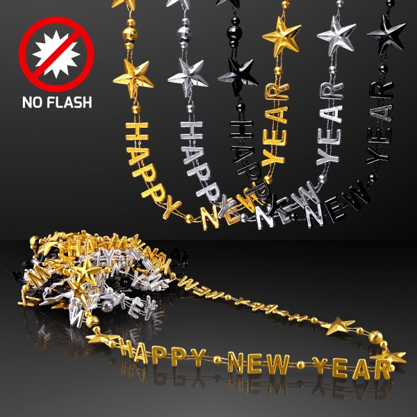 Happy New Year Party Beads in Black, Silver & Gold