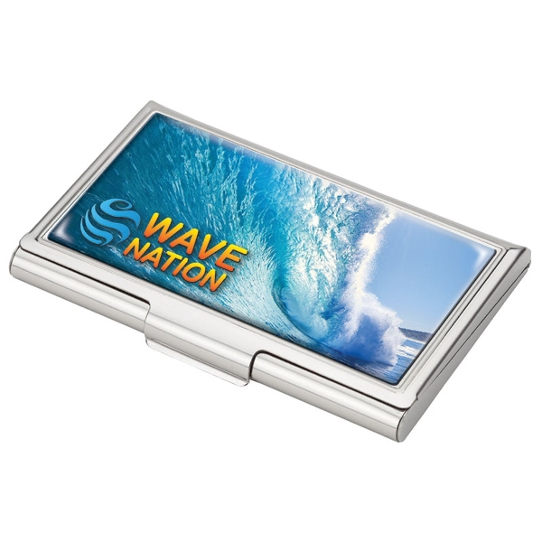 Business Card Case - Silver business card case with snap closure and mirror finish inside.