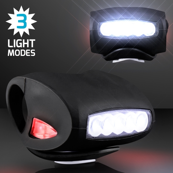 Black Bicycle Headlight for Night Rides, White LED