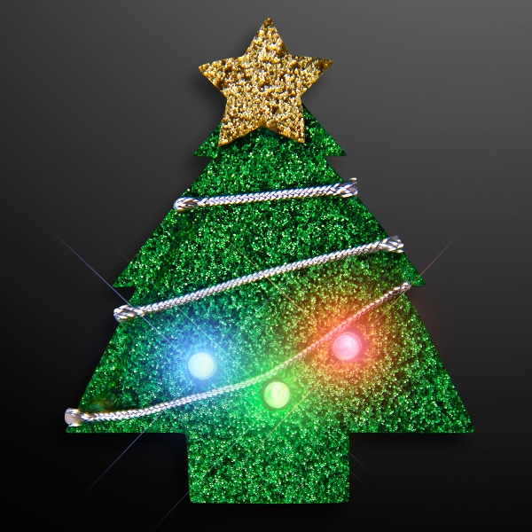 Glitter Christmas Tree Flashing Party Pins