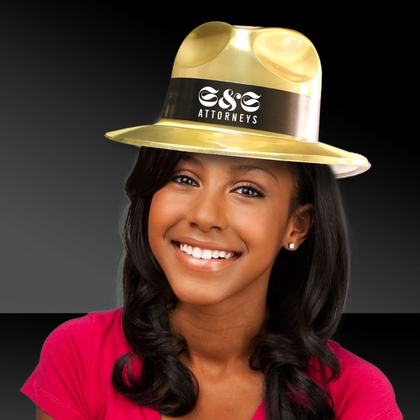 Gold Metallic fedora gangster Hat