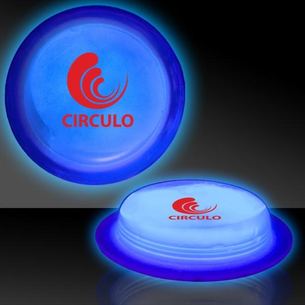 "Blue 3"" Self-Adhering Circle Shaped Glow Light Up Badge"