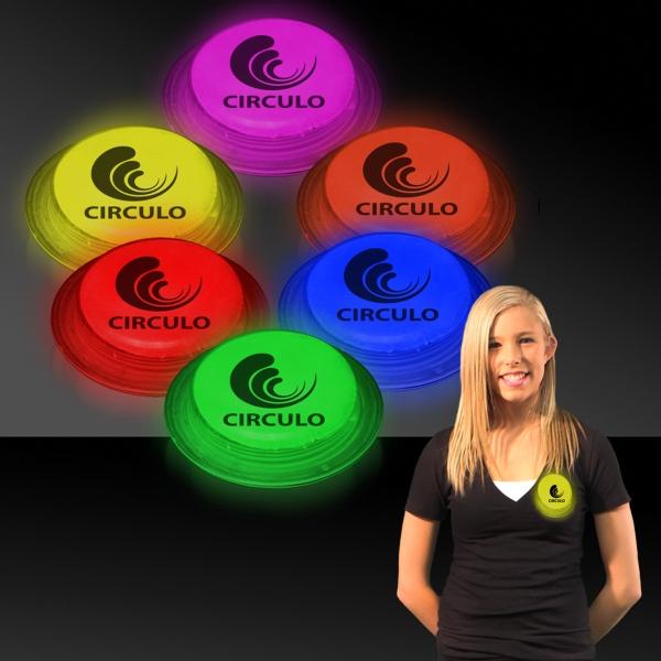 "3"" Self-Adhering Circle Shaped Light Up Glow Badge"