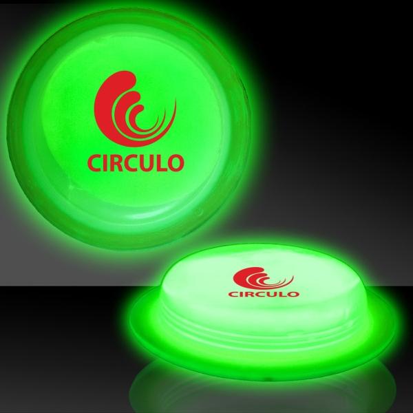 "Green 3"" Self-Adhering Circle Shaped Light Up Glow Badge"