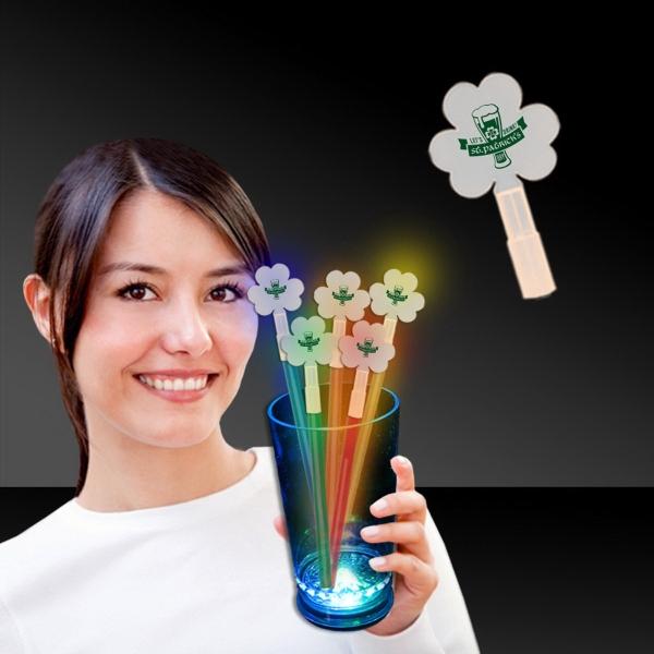 Shamrock Glow Light Up Swizzle Stick Toppers - Shamrock glow light up swizzle stick topper.