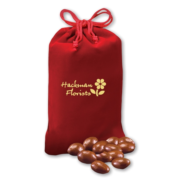 Milk Chocolate Covered Almonds in Red Velour Pouch