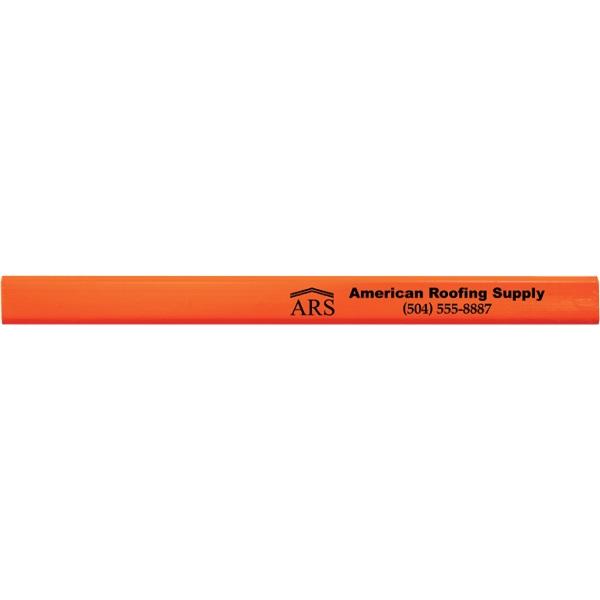 Neon Orange Carpenter Pencils - 2 Sided Imprint