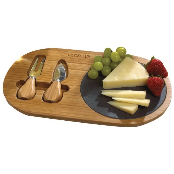 Bamboo and Slate Cheese Set