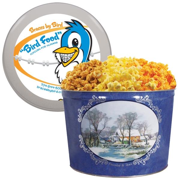 Designer Two Gallon Popcorn Tin-Three Flavors