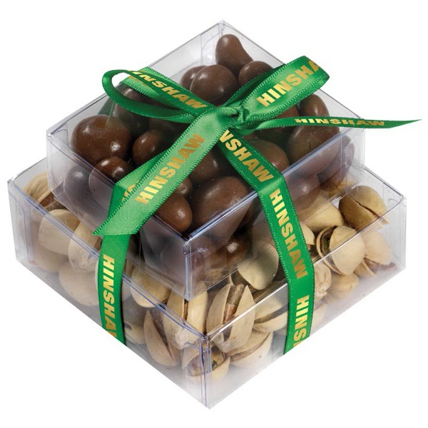 Stacked Present with Pistachios and Chocolate Covered Peanut