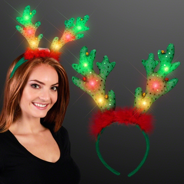 LED Light Up Reindeer Antlers with Jingle Bells