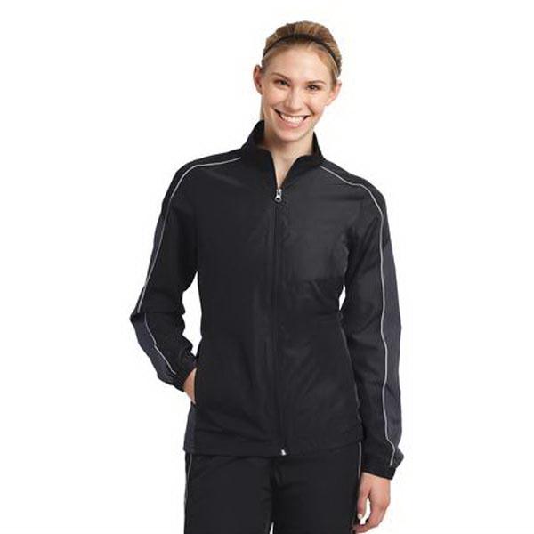 Sport-Tek Ladies Piped Colorblock Wind Jacket.