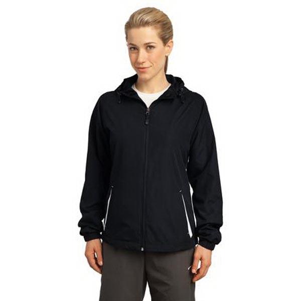 Sport-Tek Ladies Colorblock Hooded Raglan Jacket.