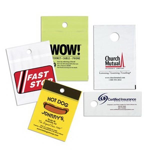"Custom Imprinted Plastic Door Knob Bag 5"" x 15"" - Custom Imprinted plastic door knob bag 5"" x 15""  with 1 1/2"" diameter hole."