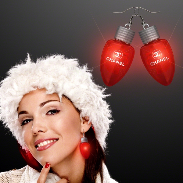 Red LED Flashing Light Bulb Christmas Earrings