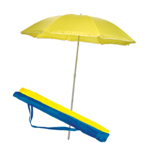Beach Umbrella - Beach umbrella with two-piece construction and self-color sleeve with shoulder strap
