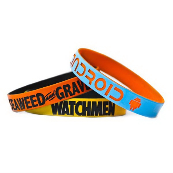 Two color Dual Layered Slicone Wristband