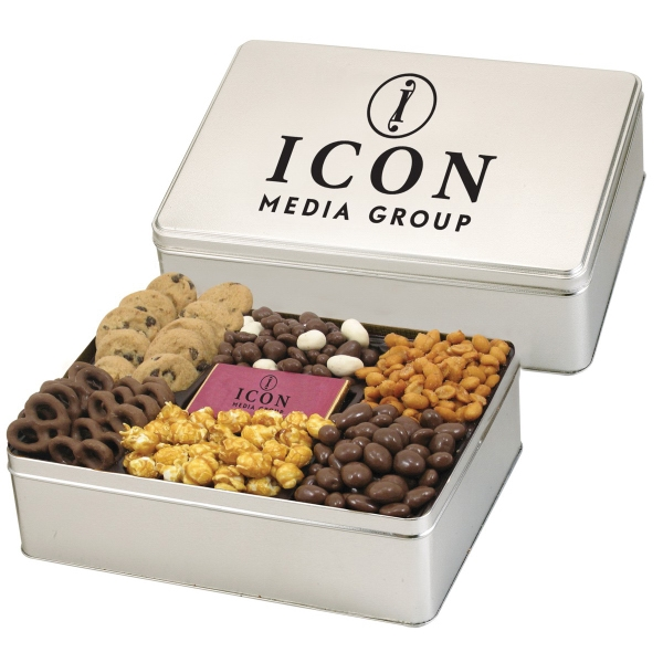 6 Way Deluxe Tin w/ Chocolate Bar-Delectable Snack Selection