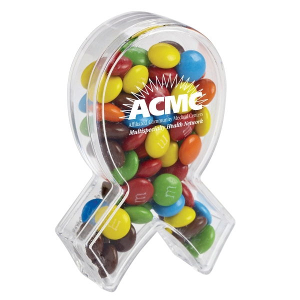 Ribbon Of Hope Candy Container With Candy Coated Chocolate - Ribbon of hope candy container with white mints
