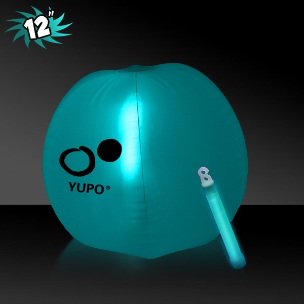 Translucent Aqua Beach Ball with Glow light Stick