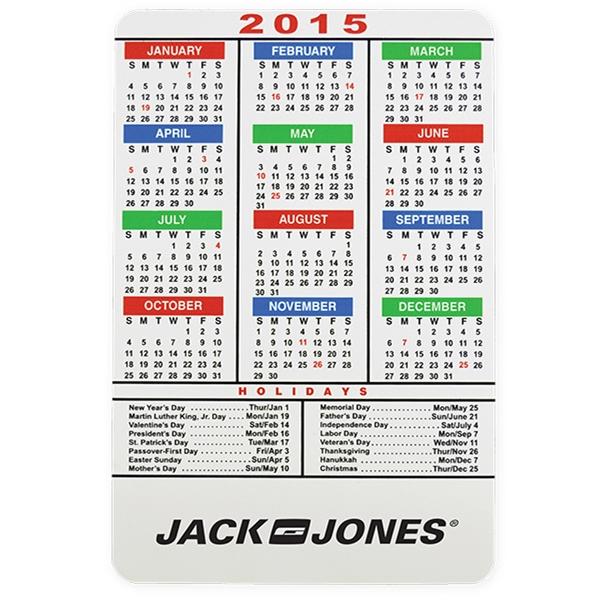 Multicolor Magnetic Calendar with Holidays -