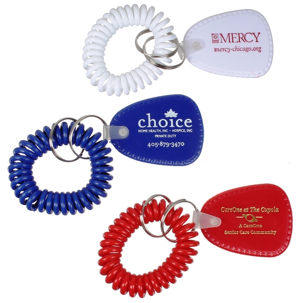 Bracelet Coil Keychain with Teardrop Tag