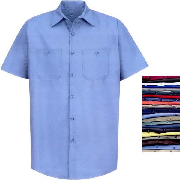 Men's Industrial Solid Short Sleeve Work Shirt