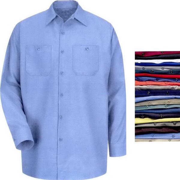 Men's Industrial Solid Long Sleeve Work Shirt