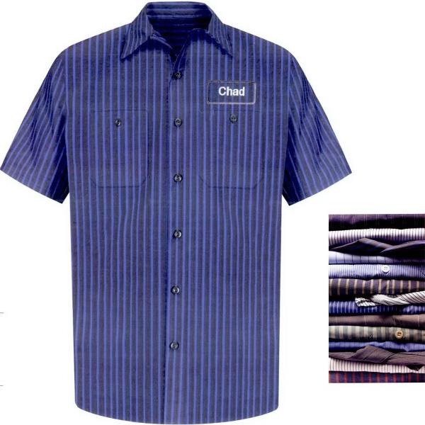 Men's Industrial Short Sleeve Stripe Work Shirt