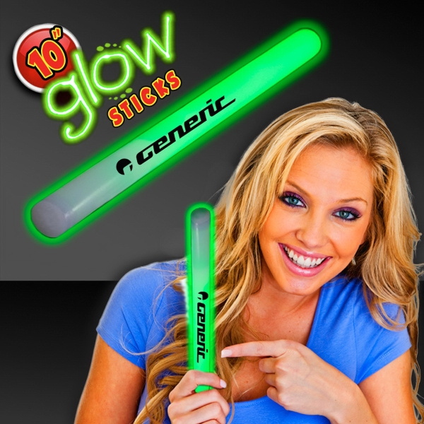 "Green Concert 10"" Glow light Sticks"
