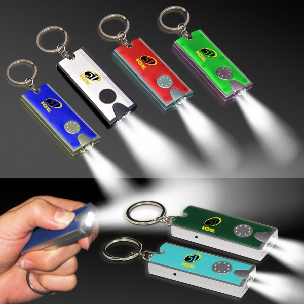 Silver & Red LED Flashlight Keychain