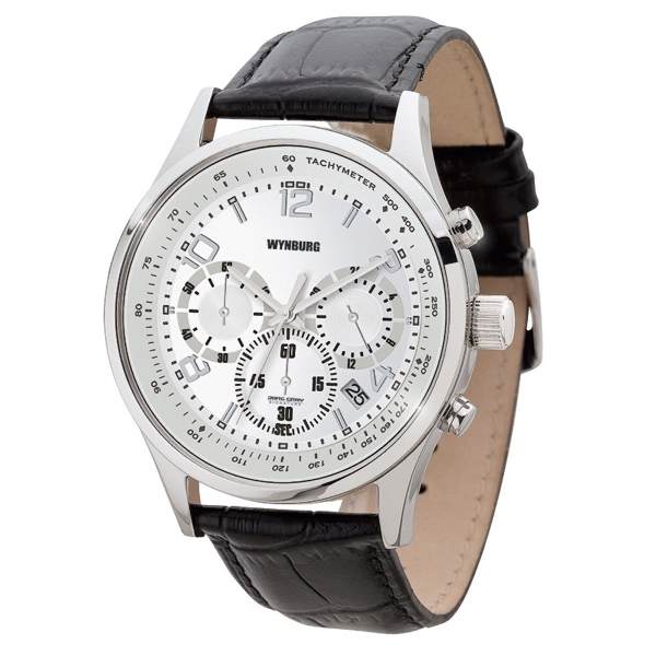 Unisex watch - Polished silver finishing chronograph watch with date display, leather straps.