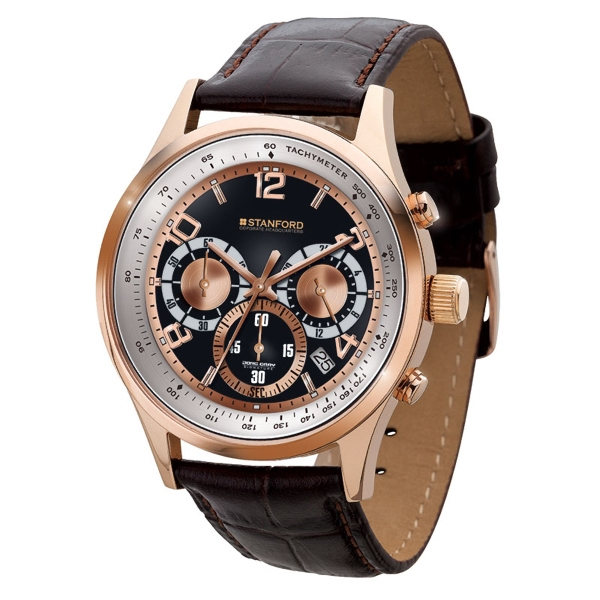 Unisex watch - Polished rose gold finishing chronograph watch with date display, leather straps.
