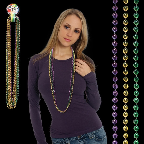 Assorted Color Round Bead Mardi Gras Necklace