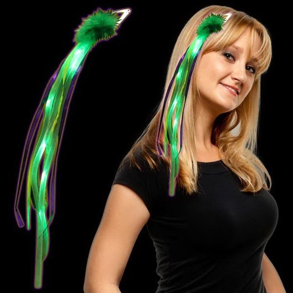 Mardi Gras Light Up LED Ribbon Fascinator