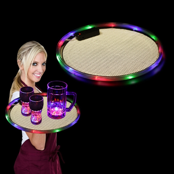 "Multi Color 14"" Light Up LED Serving Tray, Blank"