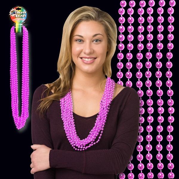 "Pink Metallic Beaded Necklace - Pink metallic round beaded mardi gras beads necklace, 33"" (7mm), blank."