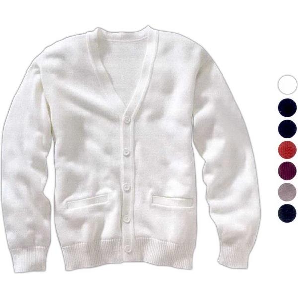 Unisex V-Neck Acrylic Button Cardigan with Pockets