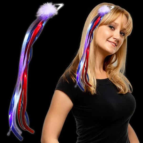 Patriotic LED Light Up  Ribbon Fascinator