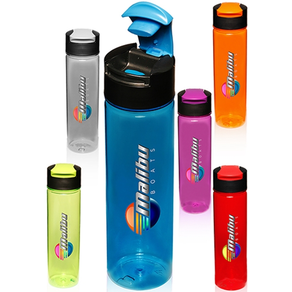 24 oz. Flip Top Slim Water Bottles